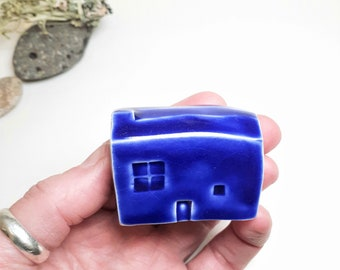 Cute Cobalt Blue Ceramic House, Ceramic Shelf Ornament in Cobalt Glaze , Clay Cottage Gift, House warming and Architecture
