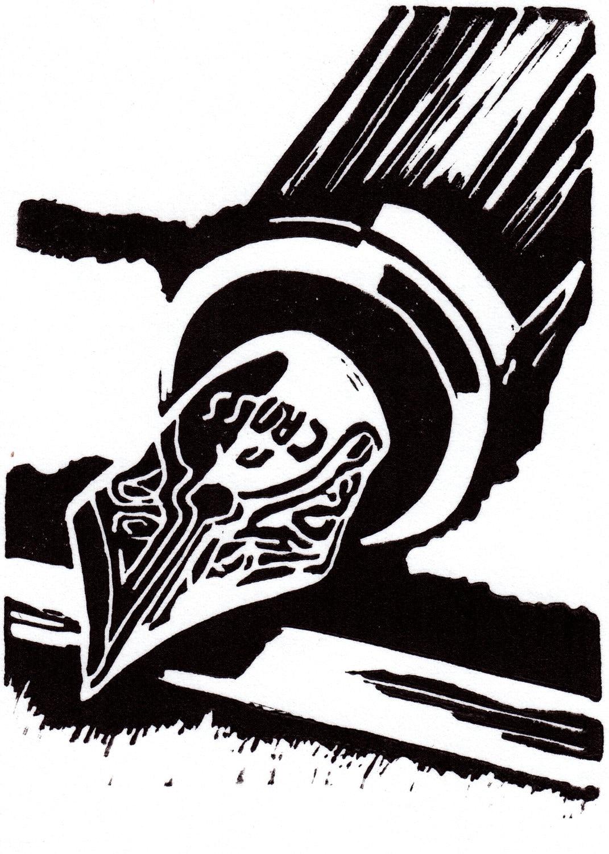 MOONRISE OVER SEATTLE Linocut Hand Pulled OriginalPrint Signed