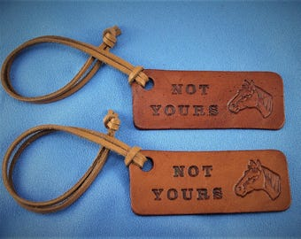 2 Leather Luggage Tags  - Personalized - Custom Design