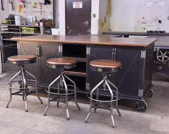 Beau Vintage Industrial Kitchen Island / Antique Cart / Utility Table / Cabinets