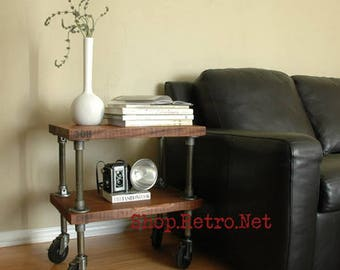 Vintage French Industrial Inspired Side Table On Casters