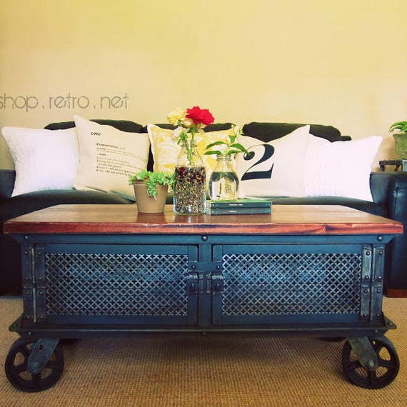 Industrial Tv Stand And Coffee Table: Ellis Coffee Table / Vintage Industrial Flat Panel TV