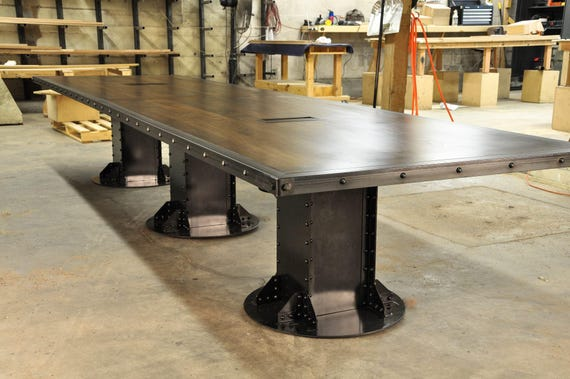 Vintage French Industrial Conference Table Dining Table Etsy - Industrial conference room table