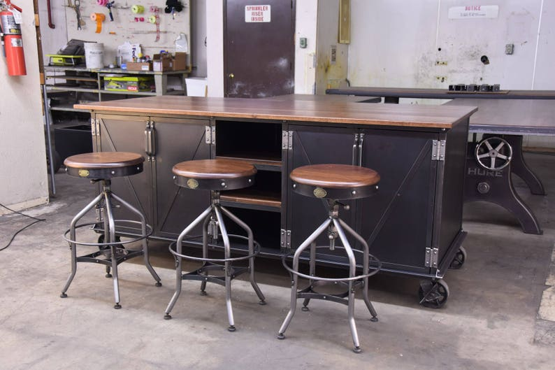 Vintage Industrial Kitchen Island Antique Cart Utility Table Cabinets