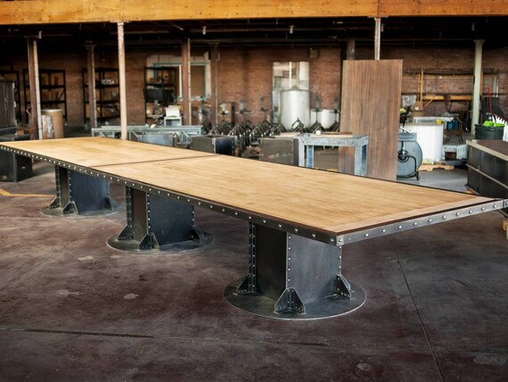 Vintage French Industrial Conference Table Dining Table Etsy - Vintage industrial conference table