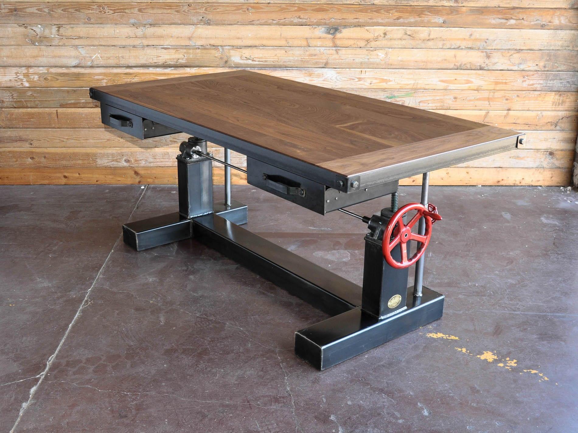 French Industrial Adjustable Height Desk Vintage work ...