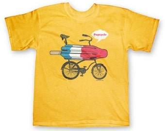 Popcycle children's Funny Bicycle Yellow T-shirt in  Youth S, M, L, XL