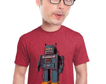 robot t-shirt, geeky, nerdy, sci-fi robot fan, geekery, novelty tee, gift for students, robot, vintage robot tshirt, retro toy robot, s-4xl
