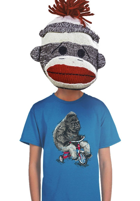King Kong Riding Bicycle KID/'S T-shirt pour enfants garçons filles Gorilla Bike