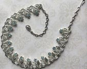 Signed Vintage Coro silver plated Necklace with Blue Rhinestones - Grandmother Collection