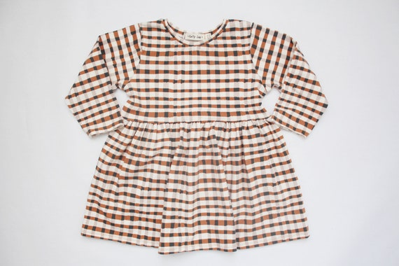 2277bb0df2f Baby Dress   Maple Plaid   MADE TO ORDER   Brown   Black