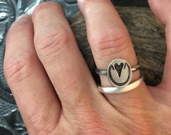 Horse hoof print ring