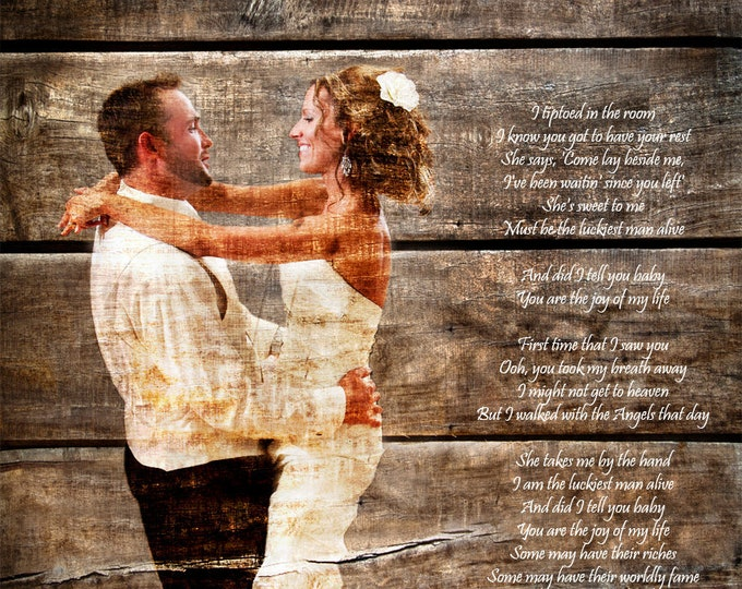 5th Anniversary Gift First Dance Lyrics 5 Year Anniversary First Dance Song Wood Print Photo on Wood Print on Wood Parents Anniversary