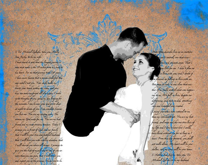 2nd Anniversary Cotton Anniversary Gift For Couple Gift For Him Couple Portrait Gift For Her Song Lyric Art Parents Anniversary 16x20