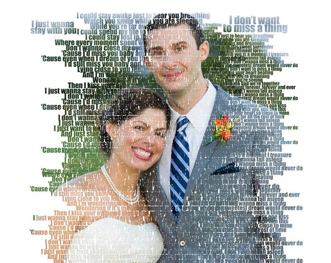 Wedding Anniversary Gift  Photo Gift Portrait On Canvas Wedding Vows Song Lyric Gift 16x16