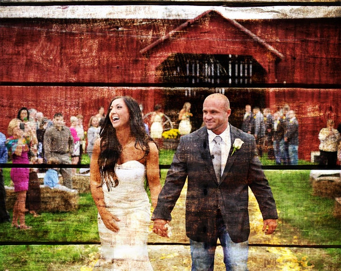 Rustic Wedding Gift Wood Print Rustic Home Decor 5th Anniversary Gift Rustic Decor Barn Wedding 5 Year Anniversary Photo On Wood 16x20