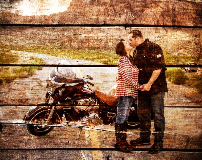 Wood Print Custom Wood Motorcycle Gift For Couple Gift For Him Couple Portrait Gift Photo On Wood Photo Print Wedding Anniversary Gift