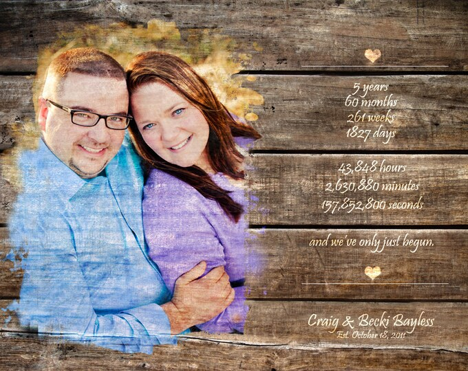 5th Anniversary Wedding Entrance Sign Wood Print Photo on Wood 5 Year Anniversary Photo Gift Wood Anniversary Gift Wedding Decoration 20x30