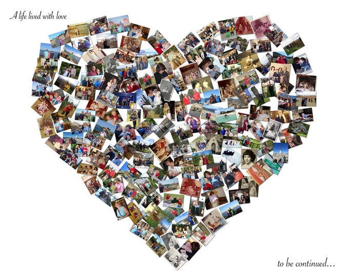 Custom Canvas Mosaic Heart Collage Picture Gift Wedding or Anniversary Wall Art 16x20