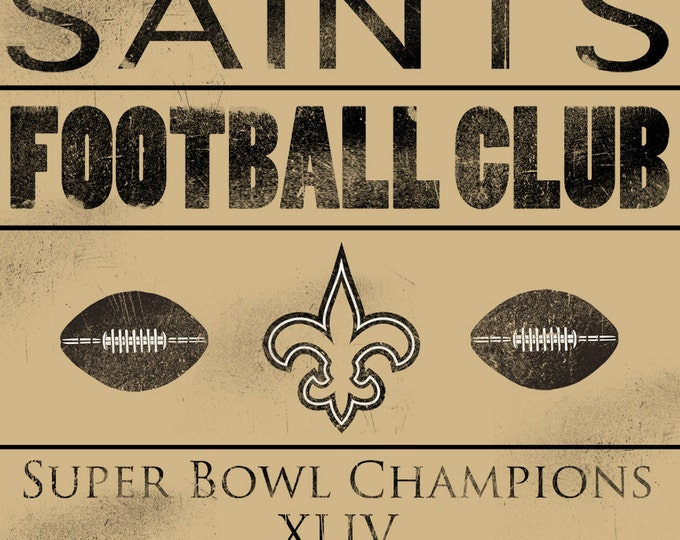 New Orleans Saints Vintage Football Wood Print 14x20