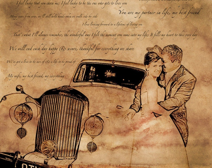 Custom Vintage Illustration Canvas Wedding Decoration Or Anniversary Gift Birthday Gift 24x28