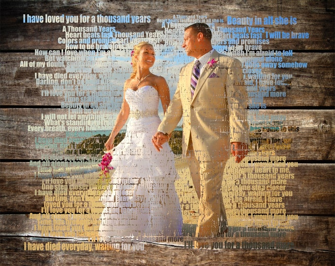 5th Anniversary Gift Wedding Vow Art First Dance Lyrics Wedding Song Lyrics Song Lyric Art First Dance Song 5 Year Anniversary Gift 16x20