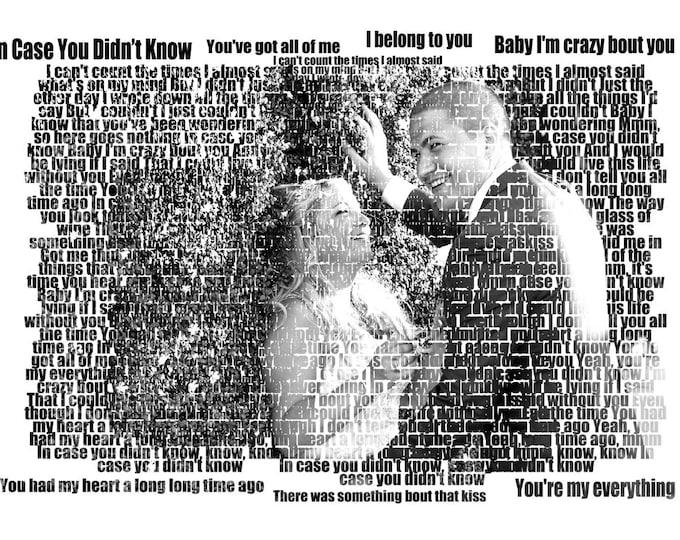 Gift For Couple 2nd Anniversary Marriage Proposal 1st Anniversary Couple Portrait First Dance Lyrics Wedding Vow Art First Dance Songs 16x20