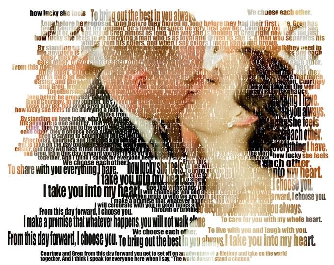 Wedding Anniversary Gift  Custom Photo Gift Portrait On Canvas Wedding Vows Song Lyric Gift 16x20