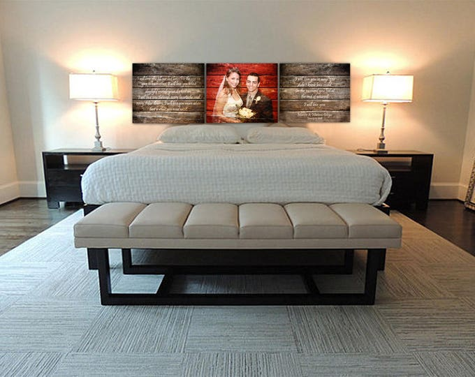 Custom Headboard REAL WOOD 5th Anniversary Gift Rustic Wedding or Wedding Anniversary Gift Three 20x24 inch pieces