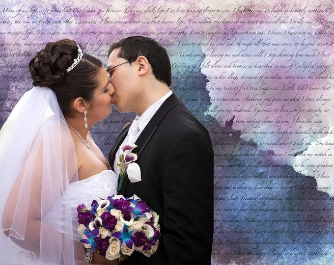 Song Lyric Wedding Vows Custom Canvas Wall Art 12x16