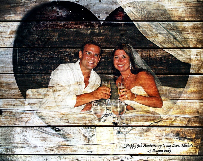 5th Anniversary Gift 5 Year Anniversary Wood Anniversary Photo On Wood Photo Gift  Rustic Home Decor Wedding Anniversary Gift 16x20