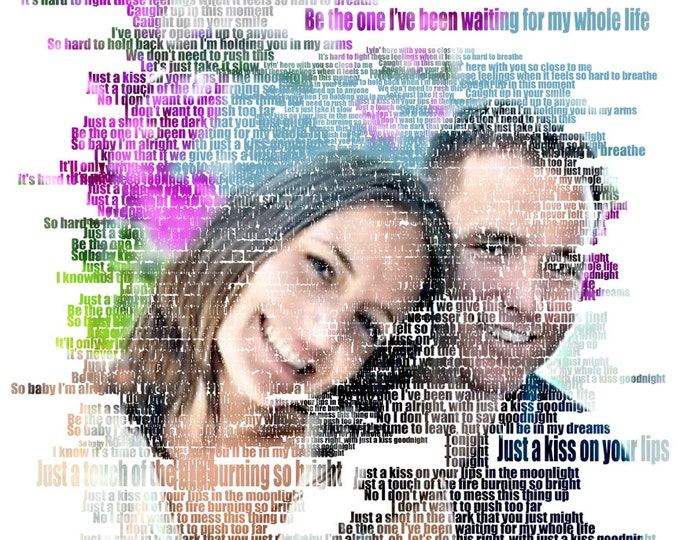 Photo Gift Portrait On Canvas Wedding Vows Song Lyric Gift 16x16