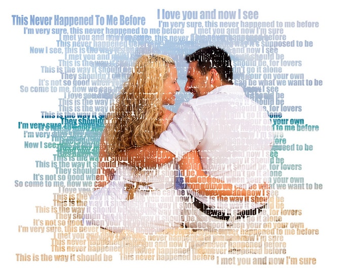 2nd Anniversary Gift First Dance Lyrics First Dance Songs 1st Anniversary Song Lyric Art Wedding Vow Art Couple Portrait on Canvas  16x20