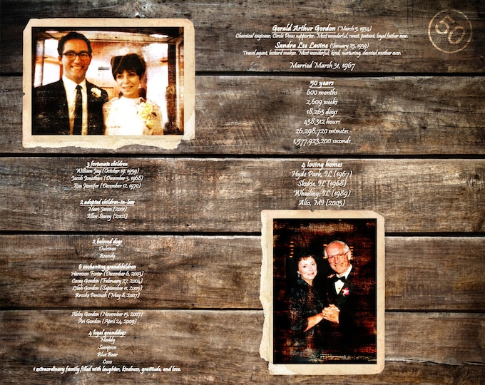 50th Anniversary Gift Parents Anniversary Gift 50 Years Of Marriage 50 Years Ago Golden Anniversary Gifts For Parents Home Decor 16x20