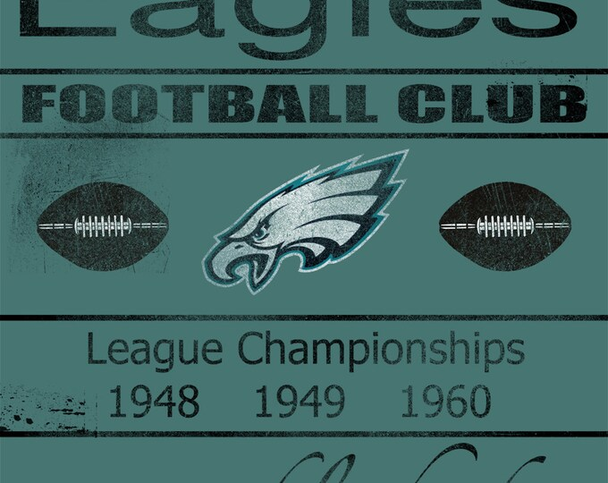 REAL WOOD Philadelphia Eagles Vintage Art Print on Wood 14x20
