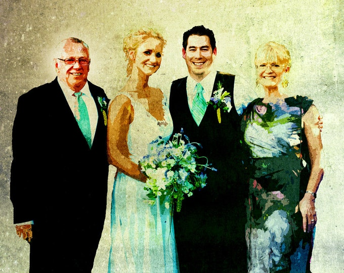 Custom Wedding Gift Family Portrait Photo Gift Wedding Photo Gift Wedding Painting Bedroom Decor Gift For Her Gift For Him On Canvas 16x20
