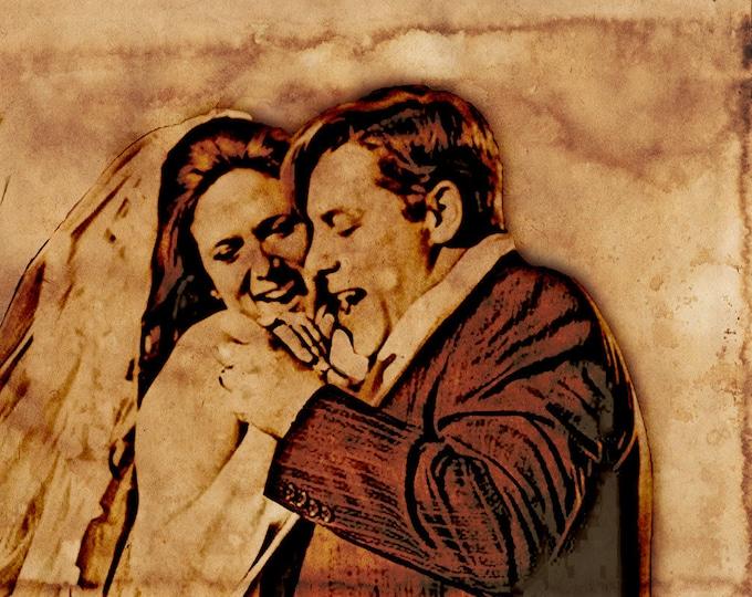 Custom Vintage Illustration Canvas Wedding Decoration Or Anniversary Gift Birthday Gift 16x20