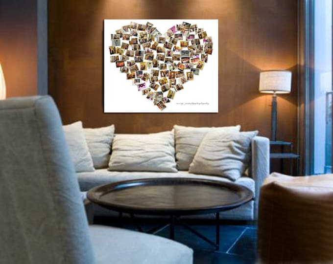 Custom Canvas Mosaic Collage Picture Gift Wedding or Anniversary Wall Art 20x24