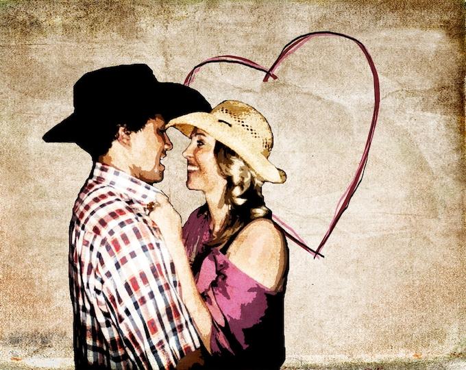 Custom Vintage Grunge Canvas Wedding Decoration or Wedding Anniversary Engagement Gift 12x16