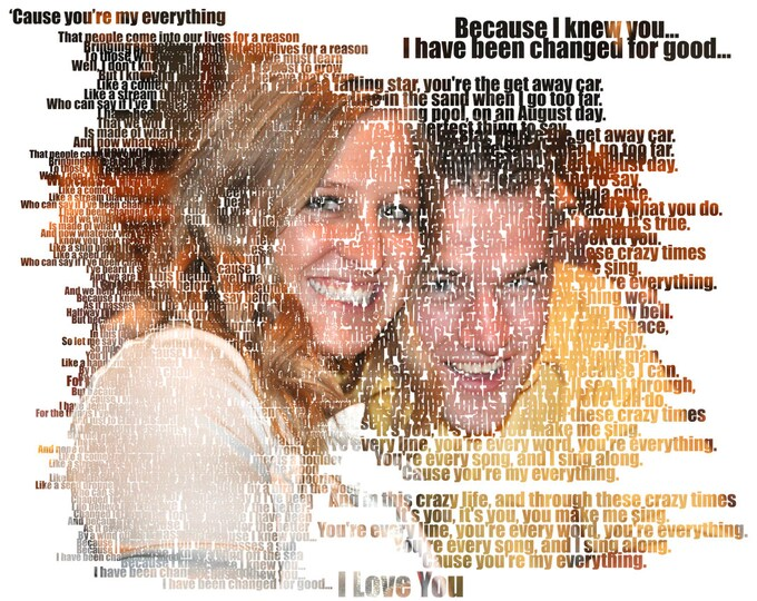 Text Art Word Art Custom Photo Gift Portrait On Canvas Wedding Vows Song Lyric Gift 16x20