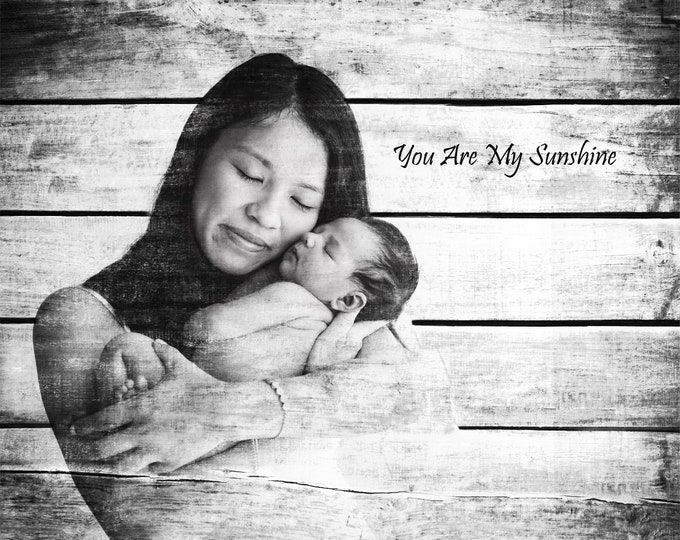 First Mothers Day Gift Mother Gift Mom Gift Gift From Daughter Gift From Son New Mom New Mother Wood Print Photo on Wood Nursery Decor 16x20