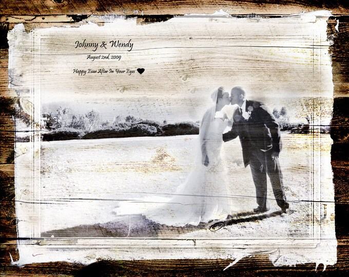 5th Anniversary Gift 5 Year Anniversary Parents Anniversary Family Portrait Wood Print Rustic Wedding Wood Anniversary Gift Photo Gift 16x20