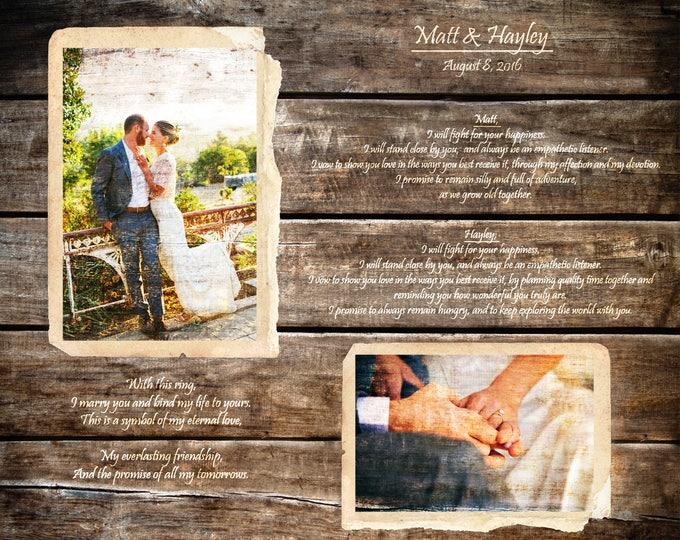 5th Anniversary Gift First Dance Lyrics 5 Year Anniversary First Dance Song Wood Print Wedding Vows Print on Wood Parents Anniversary 16x20