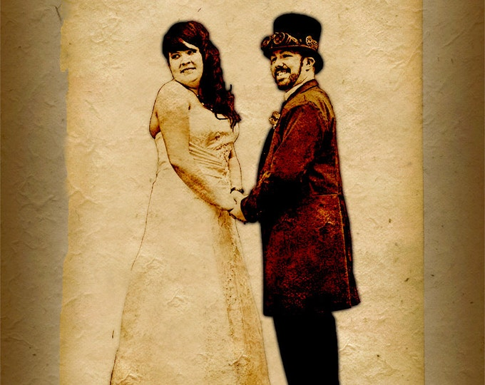 Custom Canvas Vintage Illustration Wedding Anniversary or Engagement Gift on Canvas 16x20
