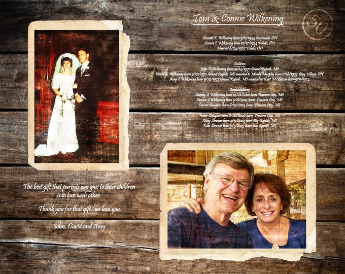 Parents 50th Anniversary Gift 50 Years Of Marriage 50 Years Ago Golden Anniversary Parents Anniversary Gift Gifts For Parents 16x20