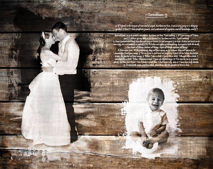 5th Anniversary, 5 year Anniversary 5th Anniversary Gift  Wood Print, Christian Wall Art Parents Anniversary Gift Wedding Anniversary 16x20