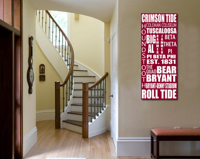 Roll Tide Custom Bus Roll Alabama Crimson Tide Travel Vacation Ball Park Destination Gift on Wood or Canvas 12x24
