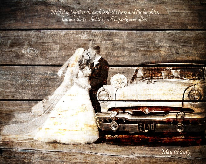 5th Anniversary Gift, 5 year Anniversary, Wall Art, Photo On Wood, Wood Print, Photo Gift, Wedding Picture Gift, Rustic Wedding 16x20