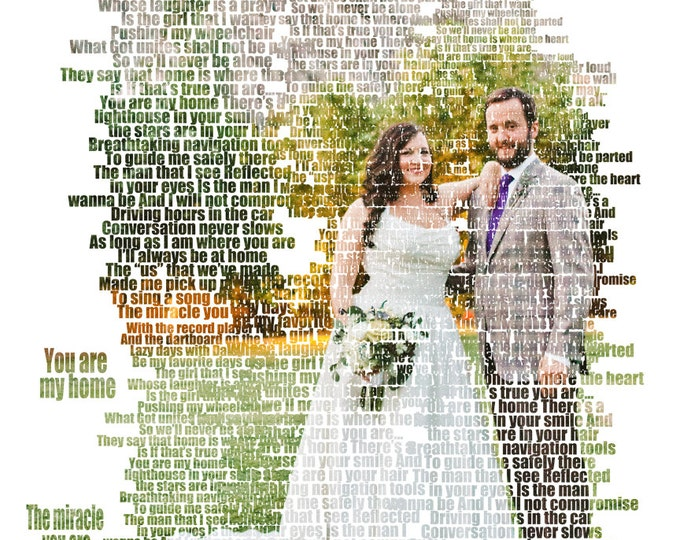 Custom Photo Gift Portrait On Canvas Wedding Vows Song Lyric Gift 16x20