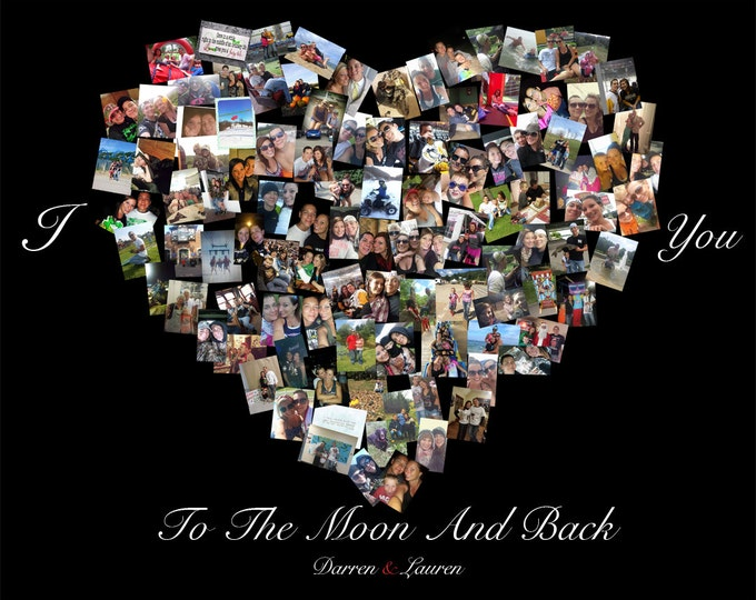 Custom Canvas Mosaic Collage Picture Gift Wedding or Anniversary Wall Art 16x20